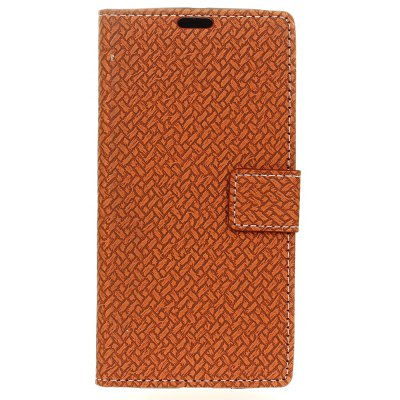 Woven Pattern Flip Front Buckle Pu Leather Wallet Case for ASUS Zenfone 4 5.5 inch (ZE554KL)