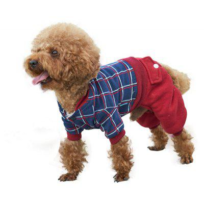 Dog Cuddle Plaid Coat Dark Blue And Red Mixture Four Legs Clothes