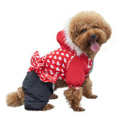Pet Dog Coat Red Heart Bow Cotton