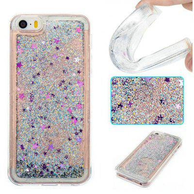Silver Sand Purple Five-Pointed Star All Soft Tpu Quicksand Phone Case for Iphone 5S Se