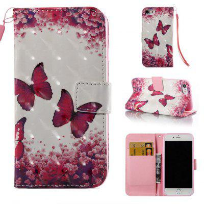 Rose Butterfly 3D Painted Pu Phone Case for Iphone 7