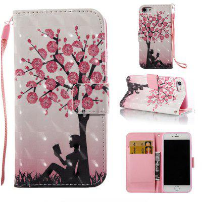 Plum Tree Girl 3D Painted Pu Phone Case for Iphone 7