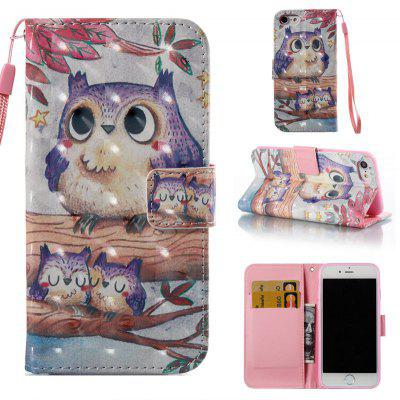 Purple Owl 3D Painted Pu Phone Case for Iphone 7