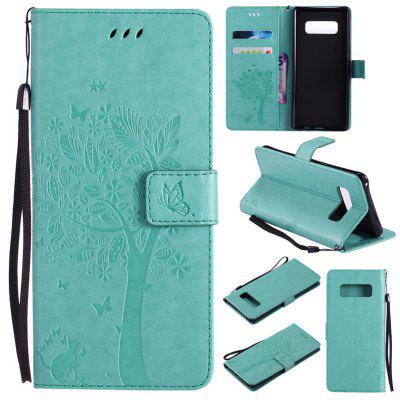 Samsung Galaxy Note 8 Pu Leather Cat And Tree Pattern Phone Case
