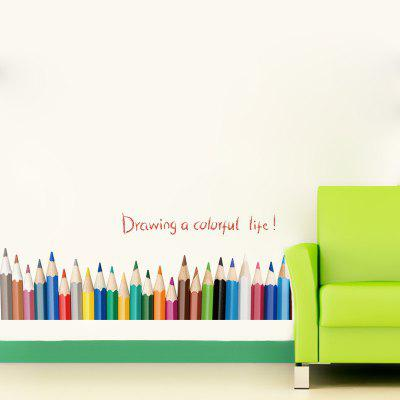 Buy Color Pencil Baseboard Skirting Wall Stickers Draw Colorful Life, MIXED COLOR, Home & Garden, Home Decors, Wall Art, Wall Stickers for $3.93 in GearBest store