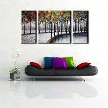 Yhhp Hand Painted Oil Painting Abstract Roadside Trees 3 Piece/Set Wall Art with Stretched Framed Ready To Hang