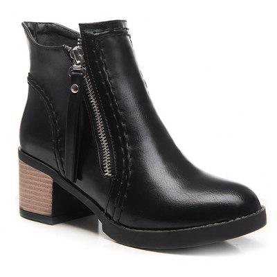 Buy BLACK Fashion Womens Round Toe Chunky Heel Zip Ankle Boots for $50.42 in GearBest store