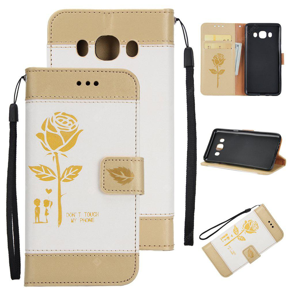 Wkae Mixed Colors Rose Flower Frosted Premium Leather Wallet Stand Case Cover with Lanyard Card Slots for Samsung Galaxy J510