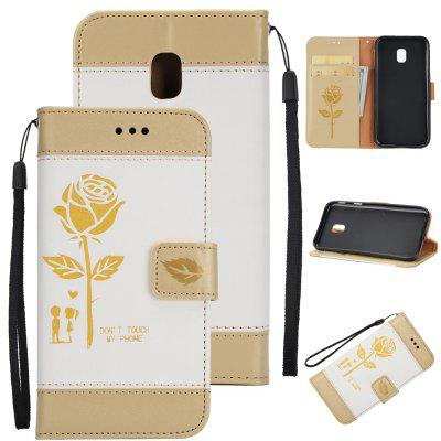 Wkae Mixed Colors Rose Flower Frosted Premium Leather Wallet Stand Case Cover with Lanyard Card Slots for Samsung Galaxy J530