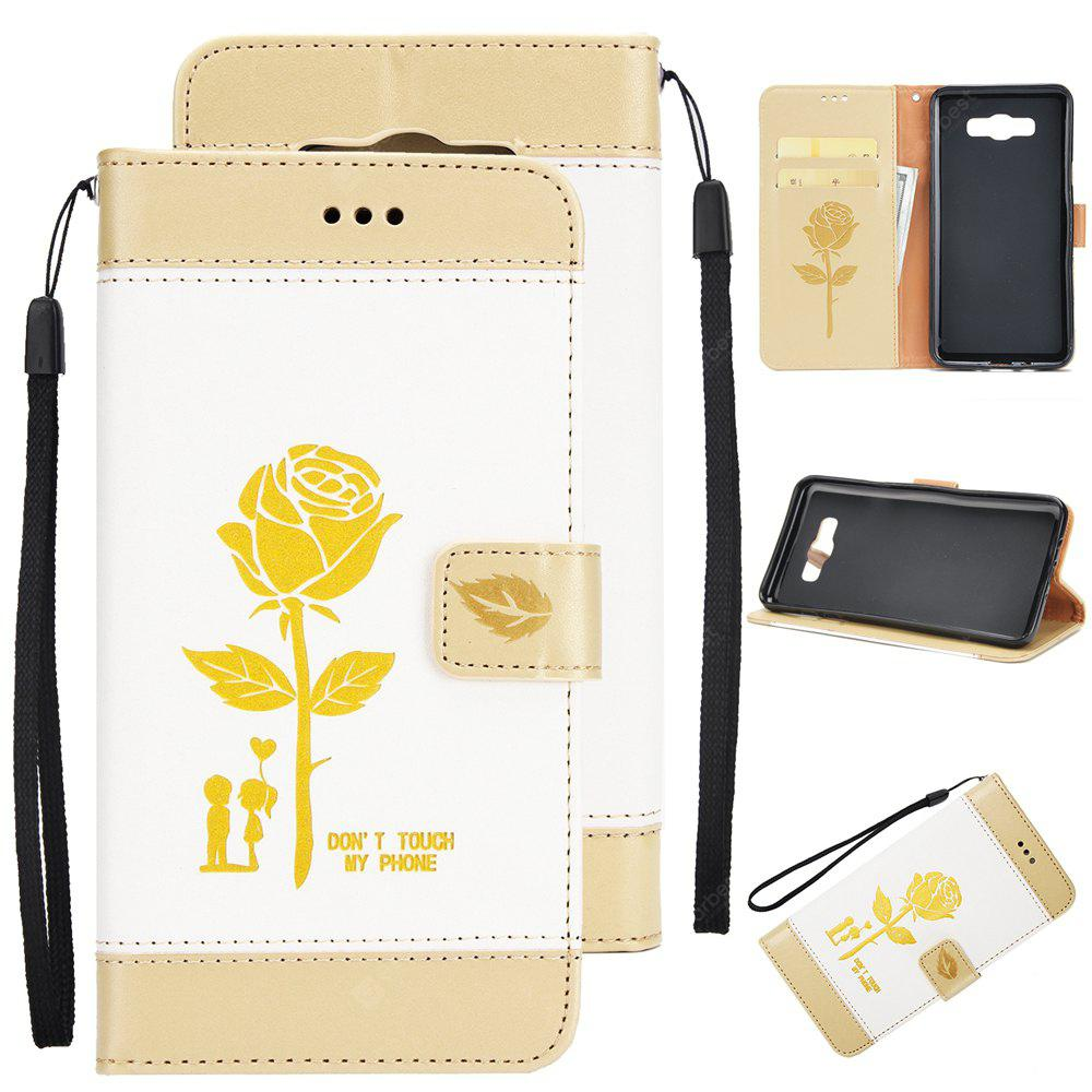 Wkae Mixed Colors Rose Flower Frosted Premium Leather Wallet Stand Case Cover with Lanyard Card Slots for Samsung Galaxy J710