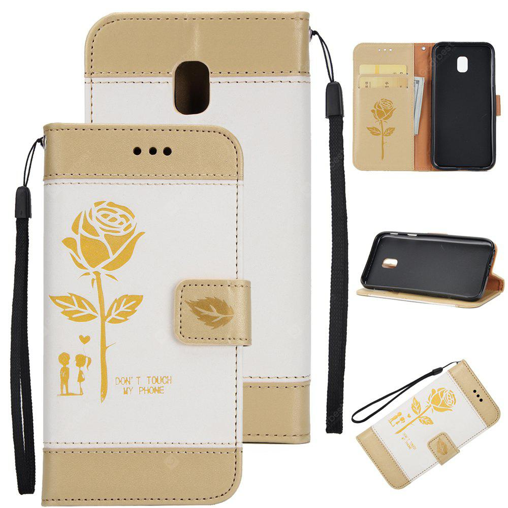 Wkae Mixed Colors Rose Flower Frosted Premium Leather Wallet Stand Case Cover with Lanyard Card Slots for Samsung Galaxy J730