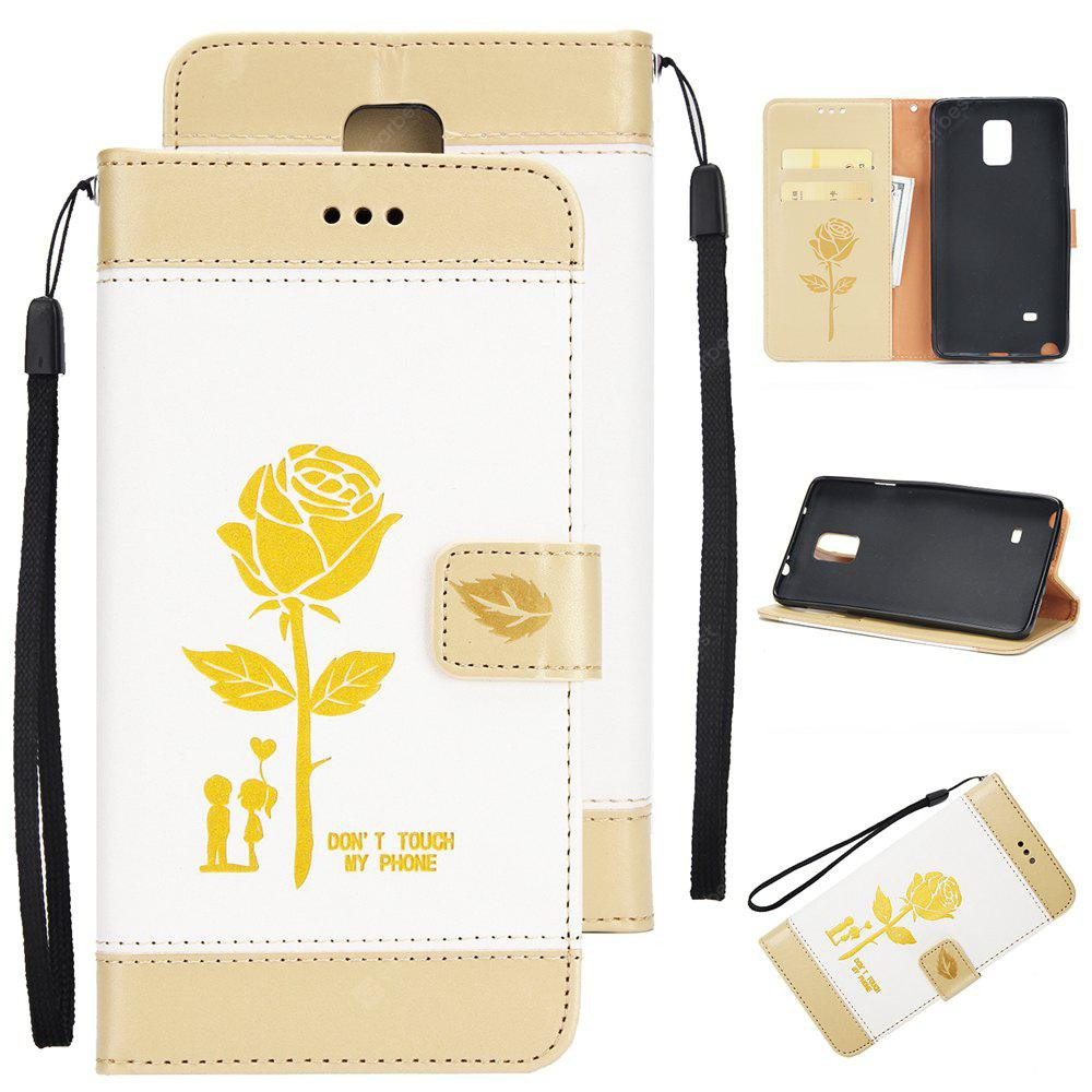 Wkae Mixed Colors Rose Flower Frosted Premium Leather Wallet Stand Case Cover with Lanyard Card Slots for Samsung Galaxy Note 4