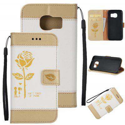 Wkae Mixed Colors Rose Flower Frosted Premium Leather Wallet Stand Case Cover with Lanyard Card Slots for Samsung Galaxy S6 Edge