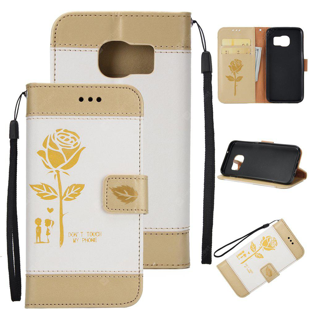 Wkae Mixed Colors Rose Flower Frosted Premium Leather Wallet Stand Case Cover with Lanyard Card Slots for Samsung Galaxy S7 Egde