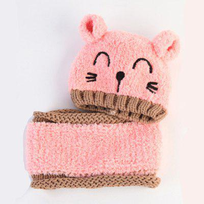 Baby Hat Cartoon Cat Pattern Colorblock Beanie And Scarf Set