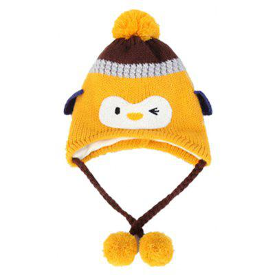 Baby Boys Hat Cute Penguin Pattern Colorblock Plush Ball Decoration Hat