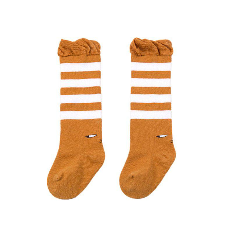 Childrens Pure Cotton Socks with Small Socks, Cartoon Pattern Striped Quilted Socks for Children of About 1 Year Old