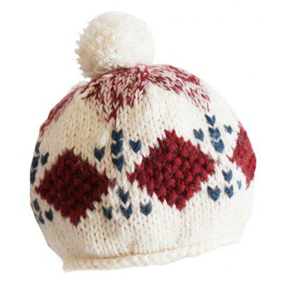 Buy COLORMIX The Baby Hat Is Made of Pure Hand-Knitting Wool And Long Plush Ball Decorated with Beret for $16.80 in GearBest store
