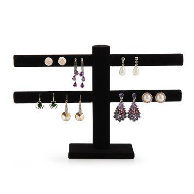 Jewelry double-layer Suede Earrings Storage Rack Display Stand