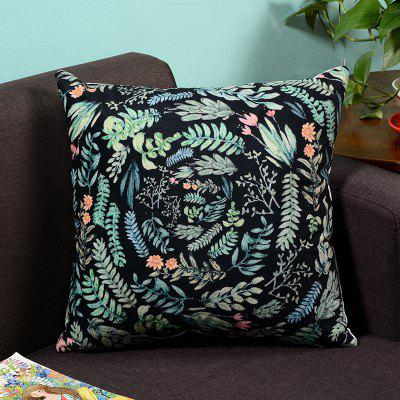 Fresh Style Leaves And Flowers Plush Pillow Case Sofa Pillowcase