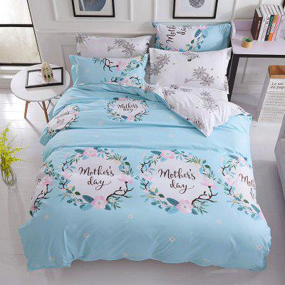 Buy LIGHT BLUE Dyy 4PCS Wave Point Bedding Set Pillowcase Bed Sheet Quilt Cover K12.1.2 for $53.13 in GearBest store