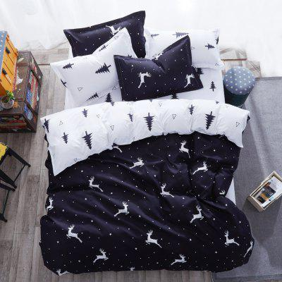 Buy BLACK Dyy 4PCS Wave Point Bedding Set Pillowcase Bed Sheet Quilt Cover K12.1.2 for $53.13 in GearBest store