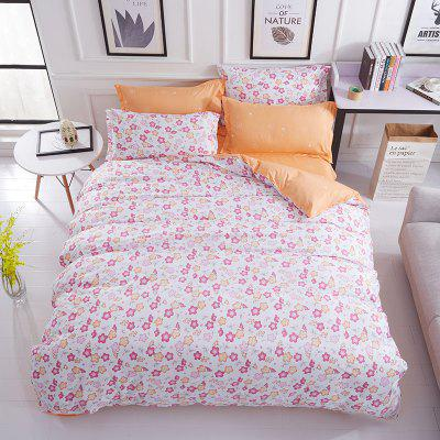 Buy WHITE + PURPLE Dyy 4PCS Wave Point Bedding Set Pillowcase Bed Sheet Quilt Cover K12.1.2 for $53.13 in GearBest store