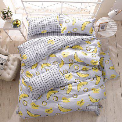 Buy YELLOW Dyy 4PCS Wave Point Bedding Set Pillowcase Bed Sheet Quilt Cover K12.1.2 for $53.13 in GearBest store