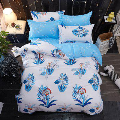 Buy WHITE + BLUE Dyy 4PCS Wave Point Bedding Set Pillowcase Bed Sheet Quilt Cover K12.1.2 for $53.13 in GearBest store