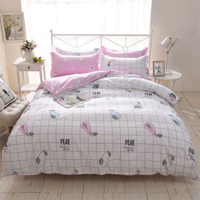 Buy WHITE Dyy 4PCS Wave Point Bedding Set Pillowcase Bed Sheet Quilt Cover K12.1.2 for $53.13 in GearBest store