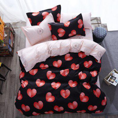 Buy BLACK + ROSE Dyy 4PCS Wave Point Bedding Set Pillowcase Bed Sheet Quilt Cover K12.1.2 for $53.13 in GearBest store