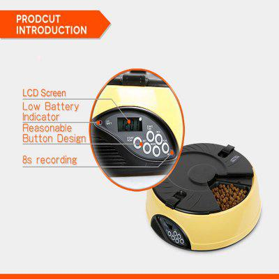 TODO 6 Meals LCD Automatic Pet FeederDog Feeding Supplies<br>TODO 6 Meals LCD Automatic Pet Feeder<br><br>Color: Pink,Yellow,Light blue<br>For: Cats, Dogs<br>Material: ABS<br>Package Contents: 1 x Feeder Base, 1 x Food Hopper, 1 x Slide Cover, 1 x Top Cover, 1 x English Version User Manual<br>Package size (L x W x H): 33.00 x 33.00 x 11.50 cm / 12.99 x 12.99 x 4.53 inches<br>Package weight: 2.0000 kg<br>Product size (L x W x H): 32.40 x 32.40 x 9.00 cm / 12.76 x 12.76 x 3.54 inches<br>Product weight: 1.2500 kg<br>Season: All seasons<br>Type: Others