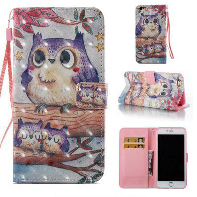 Purple Owl 3D Painted Pu Phone Case for Iphone 6S Plus 6 Plus