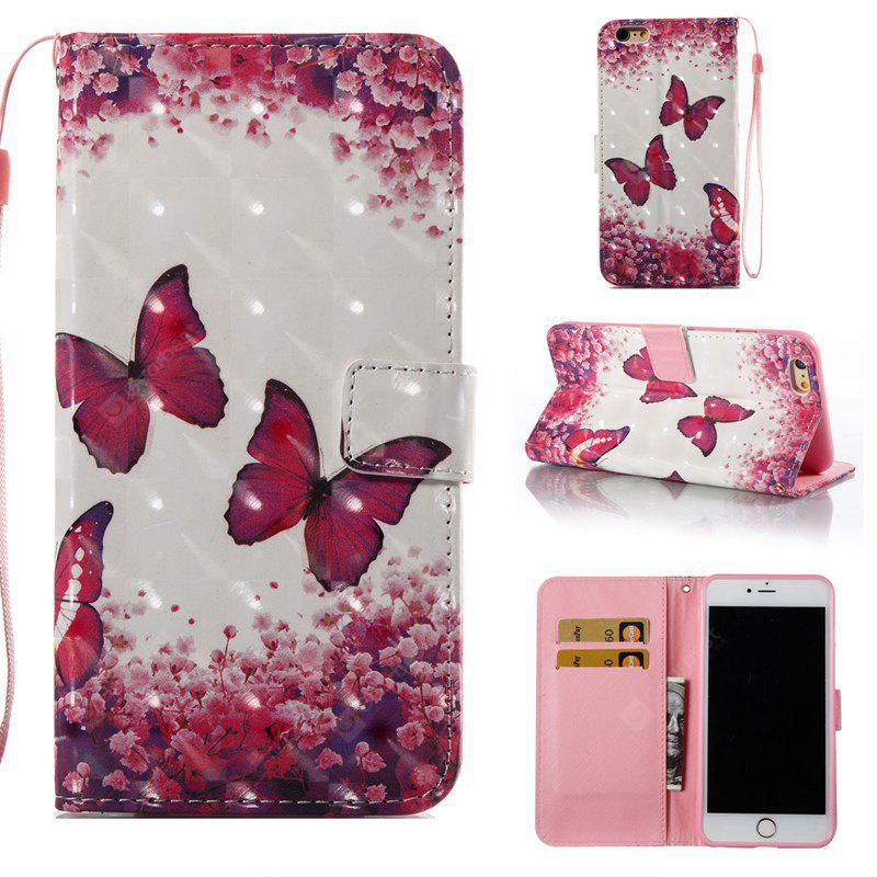 Rose Butterfly 3D Painted Pu Phone Case for Iphone 6S Plus 6 Plus