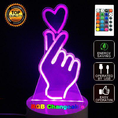 Buy MIX COLOR Gesture Than Heart 3D LED Night Light Touch Table Desk Lamp for $11.72 in GearBest store