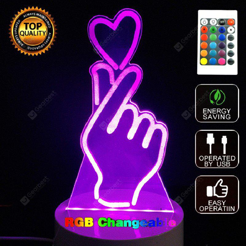 MIX COLOR Gesture Than Heart 3D LED Night Light Touch Table Desk Lamp
