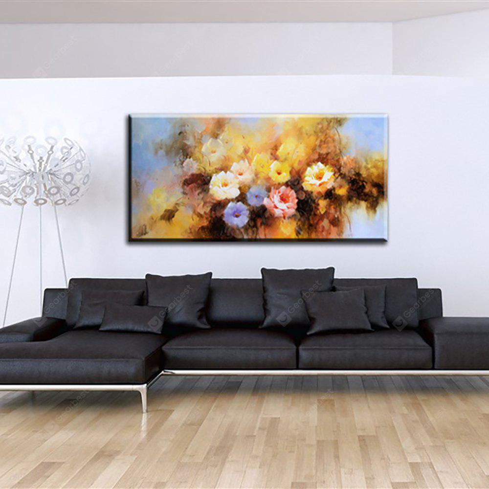 YHHP Hand Painted Abstract Peony Flowers Decoration Canvas Oil Painting