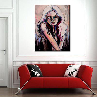 YHHP Hand Painted Abstract Art Young Girl Picture Decoration Canvas Oil Painting
