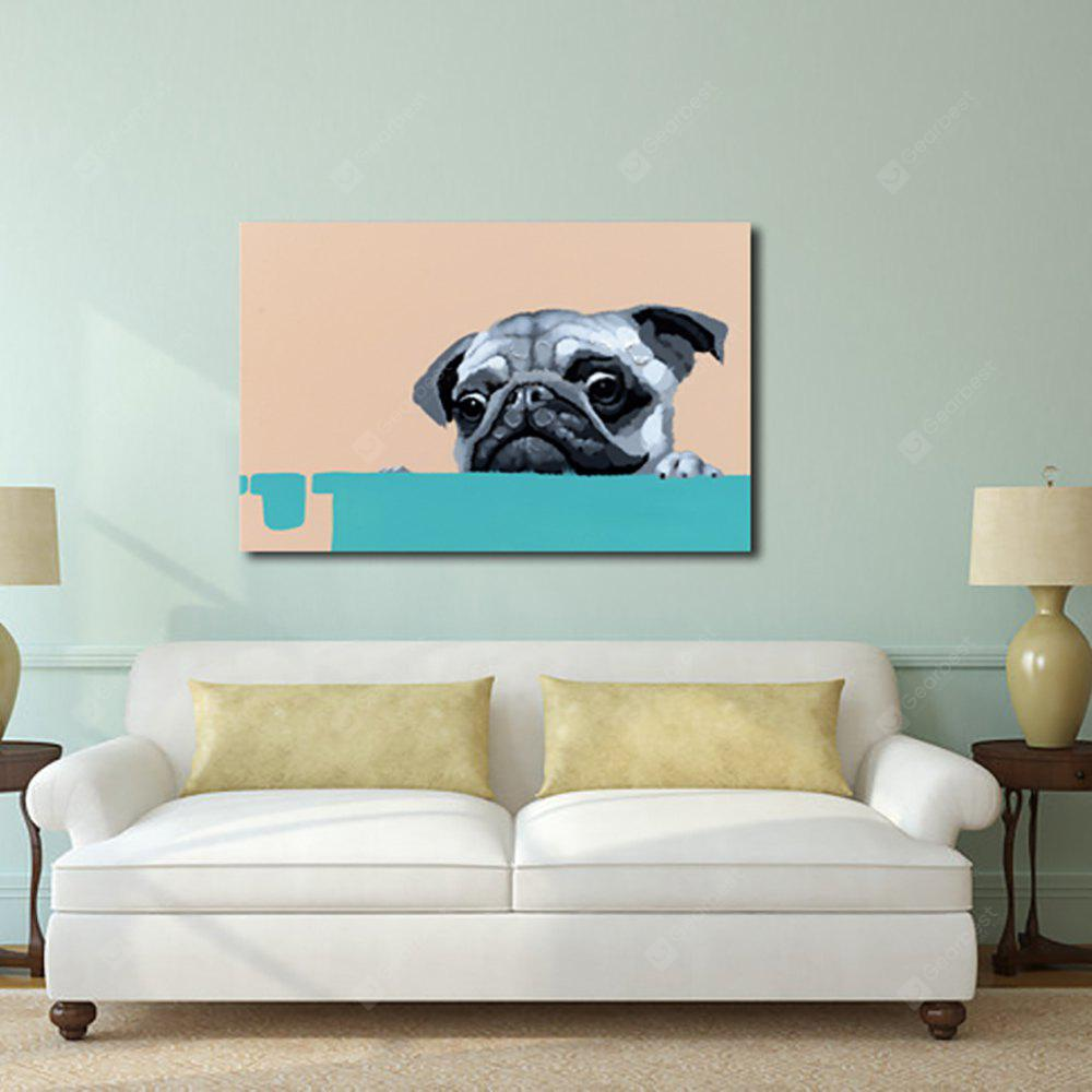 YHHP Hand Painted Abstract Art Bulldog Decoration Canvas Oil Painting