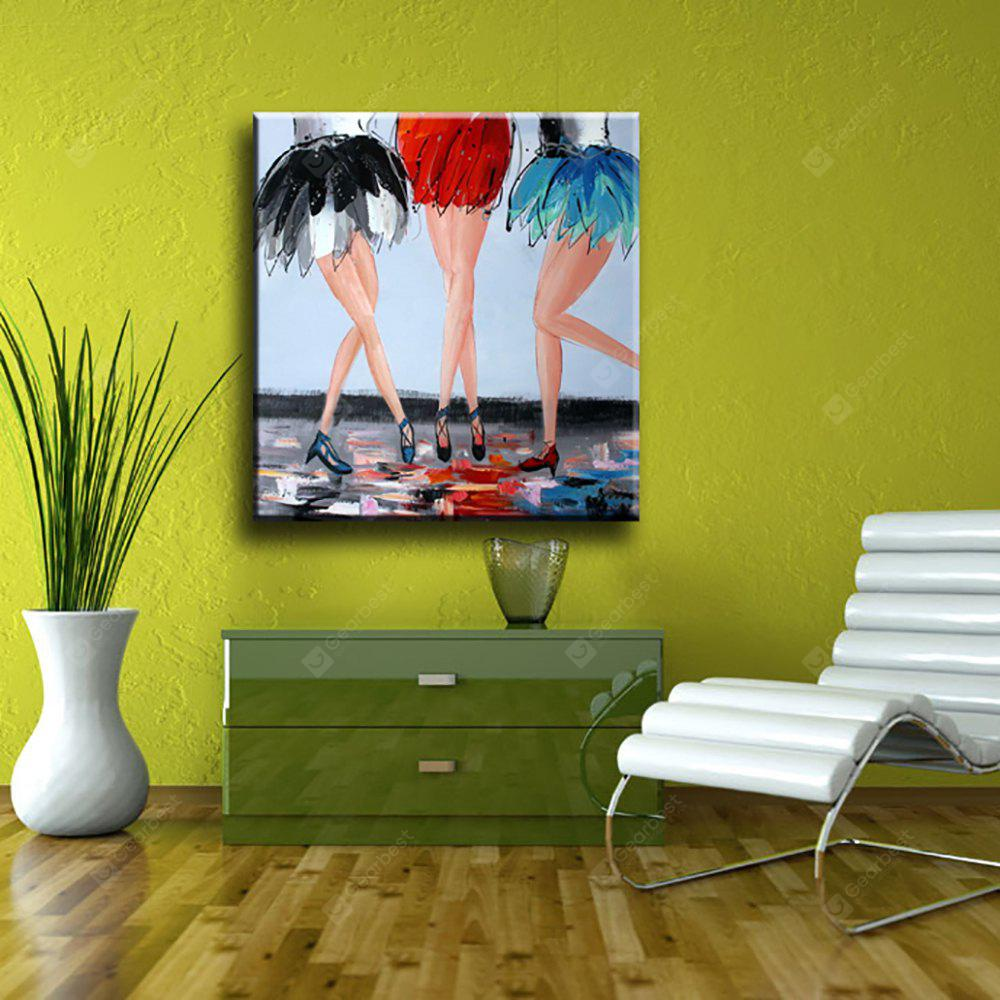 YHHP Hand Painted Abstract Art Girl Wear a Skirt Decoration Canvas Oil Painting