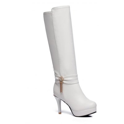 Buy WHITE 36 Fashion Womens Pointed Toe Stiletto Heel Platform Zip with Tessels Knee High Boots for $49.61 in GearBest store