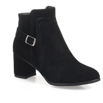 Buy BLACK Fashion Womens Round Toe Chunky Heel Zip with Buckle Ankle Boots for $50.42 in GearBest store