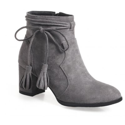 Buy GRAY Fashion Womens Pointed Toe Chunky Heel Tassels with Zip Ankle Boots for $50.42 in GearBest store
