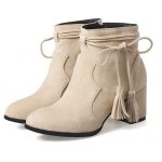 Buy Fashion Womens Pointed Toe Chunky Heel Tassels Zip Ankle Boots 34 APRICOT