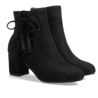 Buy BLACK Fashion Womens Round Toe Chunky Heel Tassels with Zip Ankle Boots for $50.42 in GearBest store