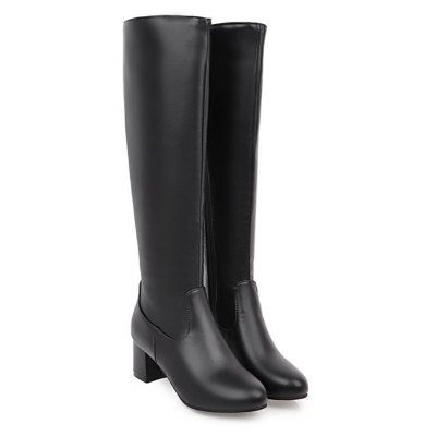 Buy BLACK Fashion Womens Pointed Toe Chunky Heel Zip Knee High Boots for $48.96 in GearBest store