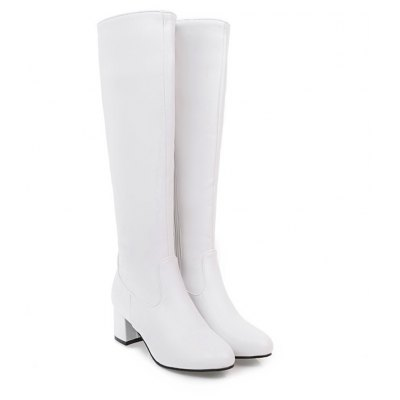 Buy WHITE Fashion Womens Pointed Toe Chunky Heel Zip Knee High Boots for $48.96 in GearBest store
