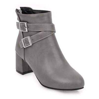 Buy GRAY Fashion Womens Pointed Toe Chunky Heel Buckle Zip Ankle Boots for $51.81 in GearBest store
