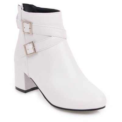 Buy WHITE Fashion Womens Pointed Toe Chunky Heel Buckle Zip Ankle Boots for $51.81 in GearBest store