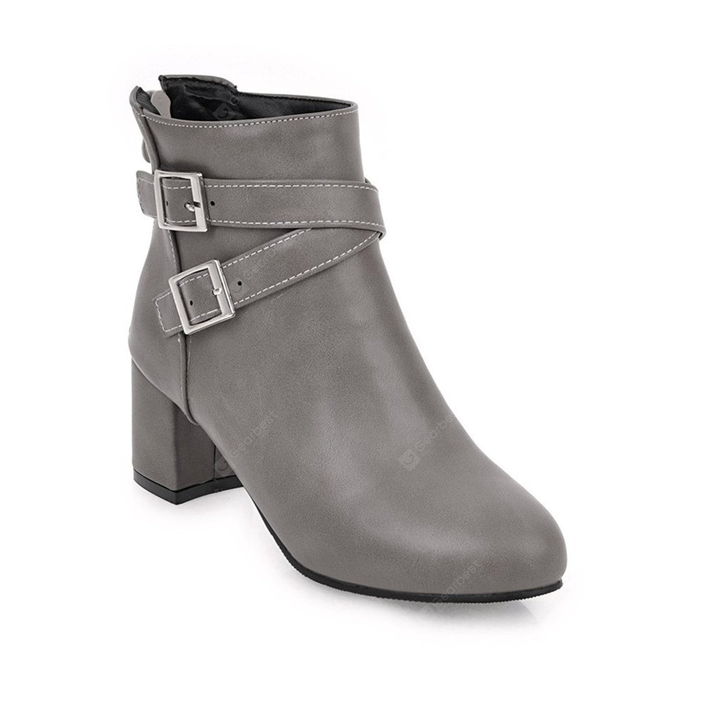 GRAY Fashion Womens Pointed Toe Chunky Heel Buckle Zip Ankle Boots